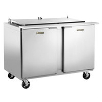 Traulsen UST488-LL-SB 48 inch Sandwich / Salad Prep Table with Left / Left Hinged Doors and Stainless Steel Back