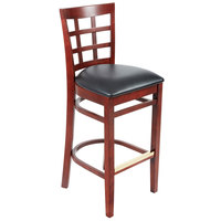 Lancaster Table &amp&#x3b; Seating Mahogany Window Back Bar Height Chair with Black Padded Seat