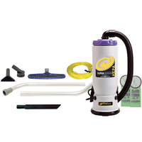 ProTeam 107108 6 Qt. Super QuarterVac HEPA Backpack Vacuum Cleaner with 107098 Xover Floor Tool Kit B - 120V