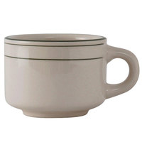 Tuxton TGB-023 Green Bay 7 oz. China Stackable Cup / Mug - 36/Case