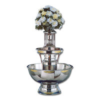 Apex 4009-GT Royal Princess 7 Gallon SS 3-Tier Beverage Fountain with Inflow Spigots, Gold Bow Tie Trim, and Waterfall Set