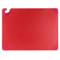San Jamar CBG182412RD 18 inch x 24 inch x 1/2 inch Saf-T-Grip Red Cutting Board with Hook