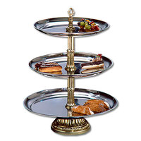 Apex CLA20-1816-G Classic Series Three Tier Food Tray with Gold Column - 27 inch High