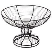 American Metalcraft BPB139 13 inch Round Black Wire Pedestal Basket