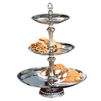 Apex ATL18-1210-S Atlantis Series Three Tier Food Tray with Silver Column - 24 inch High
