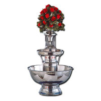 Apex 4009-SS Royal Princess 7 Gallon 3 Tier SS Beverage Fountain with Inflow Spigots, Silver Bow Tie Trim, & Waterfall Set