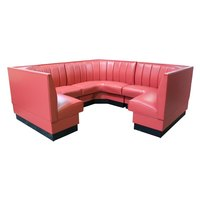 American Tables & Seating AS-486-3/4 6 Channel Back Upholstered Corner Booth 3/4 Circle - 48 inch High