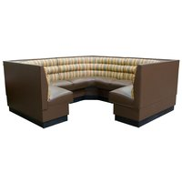 American Tables & Seating AS-48HO-3/4 3/4 Circle Horizontal Channel Back Corner Booth - 48 inch High