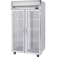 Beverage Air HFS2-1G-LED 2 Section Glass Door Reach-In Freezer - 49 cu. ft., Stainless Steel Front, Gray Exterior, Stainless Steel Interior