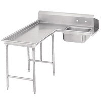Advance Tabco DTS-G70-120 10' Standard Stainless Steel Soil L-Shape Dishtable