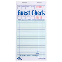Choice 1 Part Green and White Guest Check with Beverage Lines and Top Guest Receipt - 10 Books / Pack