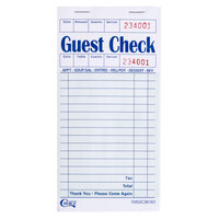 Choice 1 Part Green and White Paper Guest Check with Top Guest Receipt - 10 Books / Pack