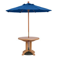 Grosfillex 98949731 7' Pacific Blue Market Umbrella with 1 1/2 inch Wooden Pole