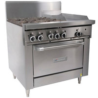 Garland G36-4G12C Natural Gas 4 Burner 36 inch Range with 12 inch Griddle and Convection Oven - 188,000 BTU