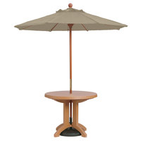 Grosfillex 98948131 7' Taupe Market Umbrella with 1 1/2 inch Wooden Pole