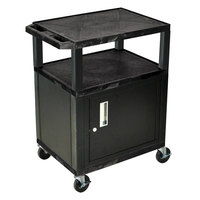 Luxor / H. Wilson WT34C2E-B Black Tuffy Two Shelf A/V Cart with Locking Cabinet - 24 inch x 18 inch x 34 inch