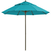 Grosfillex 98324131 Windmaster 7 1/2' Turquoise Fiberglass Umbrella with 1 1/2 inch Aluminum Pole