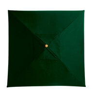 Grosfillex 98852031 6 1/2' Forest Green Square Market Umbrella with 1 1/2 inch Wooden Pole