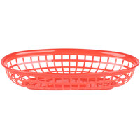 9 1/4 inch x 5 3/4 inch Red Plastic Oval Fast Food Basket - 12 / Pack