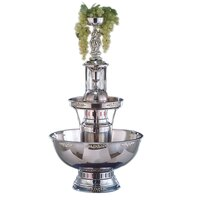 Buffet Enhancements 1BMFDC7SS 7 Gallon SS Champagne Fountain with Silver Bow Tie Trim and Statue & Waterfall Set