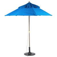 Grosfillex 98389731 Windmaster 7 1/2' Pacific Blue Fiberglass Umbrella with 1 1/2 inch Aluminum Pole