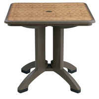 Grosfillex US743037 Havana 32 inch x 32 inch Square Resin Folding Table with Umbrella Hole - Espresso Wicker Finish