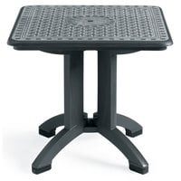 Grosfillex US700102 Toledo 32 inch x 32 inch Square Resin Folding Table with Umbrella Hole - Charcoal