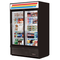 True GDM-45-LD Black Glass Sliding Door Merchandiser with LED Lighting - 45 Cu. Ft.