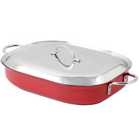 Bon Chef 60023CFCLD Cucina Classic Country French 5 Qt. Red Oblong Pan with Lid, Handles, and Induction Bottom - 15 inch x 11 inch x 2 7/8 inch