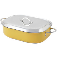 Bon Chef 60004CLD Cucina Classic Country French 7 Qt. Yellow French Oven with Lid, Handles, and Induction Bottom - 15 inch x 11 inch x 4 inch