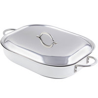 Bon Chef 60023CFCLD Cucina Classic Country French 5 Qt. White Oblong Pan with Lid, Handles, and Induction Bottom - 15 inch x 11 inch x 2 7/8 inch