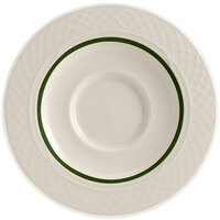 Homer Laughlin 1430-0355 Green Jade Gothic 5 5/8 inch Off White China Saucer - 36/Case
