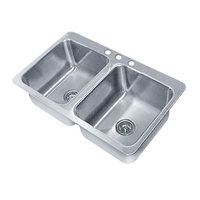 Advance Tabco SS-2-4521-12 Smart Series Double Bowl Drop In Sink - 20 inch x 16 inch x 12 inch Bowls
