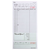 Choice 2 Part Segmented Green and White Carbonless Guest Check with Bottom Guest Receipt - 250 Loose Packed Checks / Pack