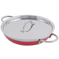 Bon Chef 60304 Classic Country French Collection 1 Qt. 20 oz. Red Saute Pan / Skillet with Cover and Double Handles