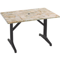 Grosfillex 55618302 Charcoal Resin Lateral Table Base 1000