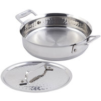 Bon Chef 60022HF Cucina 1 Qt. 24 oz. Hammered Finish Stainless Steel Round Casserole with Lid