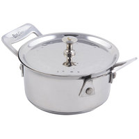 Bon Chef 60021HF Cucina 11 oz. Hammered Finish Stainless Steel Round Side Dish with Lid