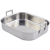 Bon Chef 60010 Cucina 10 Qt. Stainless Steel Rotisserie Pan with Handles - 16 3/4 inch x 14 inch x 3 1/2 inch