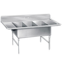 Advance Tabco K7-3-3024-24RL 16 Gauge Three Compartment Stainless Steel Super Size Sink with Two Drainboards - 138 inch