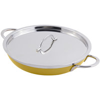 Bon Chef 60304 Classic Country French Collection 1 Qt. 20 oz. Yellow Saute Pan / Skillet with Cover and Double Handles