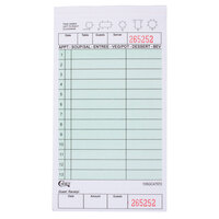 Choice 2 Part Green and White Carbonless Guest Check with Beverage Lines and Bottom Guest Receipt - 250 Loose Packed Checks / Pack