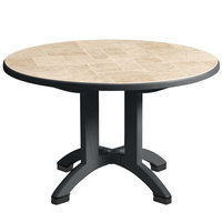 Grosfillex US700002 Siena 38 inch Round Resin Folding Outdoor Table - Charcoal Base