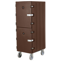 Cambro 1826DTCSP131 Camcart Dark Brown Double Compartment Tray and Sheet Pan Carrier with Security Package