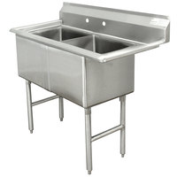 Advance Tabco FC-2-2424 Two Compartment Stainless Steel Commercial Sink - 53 inch