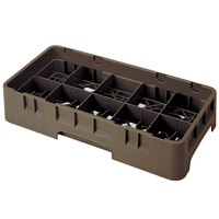 Cambro 10HS318167 Brown Camrack 10 Compartment 3 5/8 inch Half Size Glass Rack