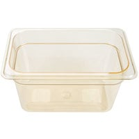 Carlisle 3088213 StorPlus 1/4 Size Amber High Heat Food Pan - 6 inch Deep