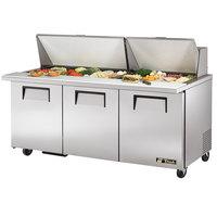True TSSU-72-30M-B-ST 72 inch Mega Top Three Door Sandwich / Salad Prep Refrigerator - 30 Pans