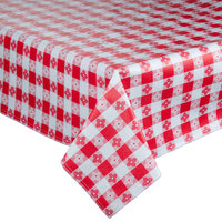 72 inch x 72 inch Red-Checkered Vinyl Table Cover with Flannel Back