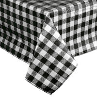 72 inch x 72 inch Black-Checkered Vinyl Table Cover with Flannel Back